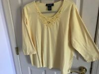 Woman's Denim&Co plus size 1X yellow embroidered round neck short sleeve top