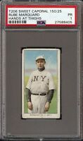 1909-11 T206 HOF Rube Marquard Hands at Thighs Sweet Caporal 150 New York PSA 1