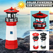 Rechargeable Solar Power Lighthouse LED Rptating Garden Light House Decoration