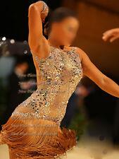 L3903 ballroom latin swing rumba samba chacha dance dress US 6 fringes lace