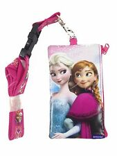 Disney Frozen Elsa Anna ID Holder Lanyards with Detachable Coin Purse - Pink