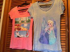 2 X Disney FROZEN Elsa Olaf T-Shirt M Medium Ladies Girls Shirts EUC Cute! 2 Lot