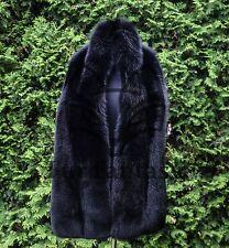 "Platinum Saga Furs Jet Black Fox Double Sides Fur Wrap Scarf Boa Stole 78x10"""