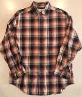Turnbury Plaid Flannel Button-up Shirt Mens M 33 European Fabric Brown/Burgundy