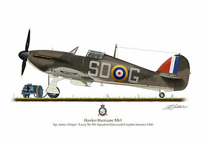 Hawker Hurricane Aircraft Profile Artwork Ginger Lacey A3 Glossy Print WW2