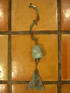"""Vintage Paolo Soleri Arcosanti Cast Bronze Bell Wind Chime 22"""" Long"""
