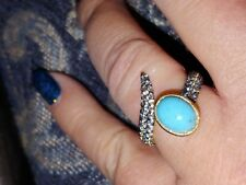 New Judith Ripka Turquoise & Blue Topaz 14k Clad Gold Ring Size 6 Or 7