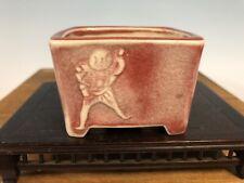 "Rare Style Mame Size Glazed Bonsai Tree Pot By Imaoka Machinao 3 1/8"""