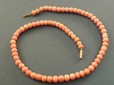 VICTORIAN SALMON CORAL BEAD NECKLACE, GOLD BARREL CLASP