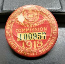 Vintage 1918 New York Hunting license #100957