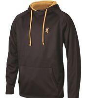 Browning Men's Performance Hoodie - Black w/ Gold Buckmark Hooded Sweatshirt