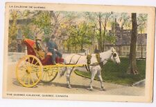 THE QUEBEC CALECHE - QUEBEC - CANADA - VINTAGE POSTCARD PMK 1946 & STAMP