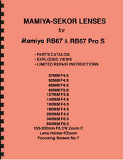 Mamiya-Sekor Lenses & Shutter f/ RB67 Parts Manual & Limited Repair Instructions