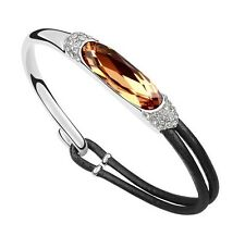 18K White Gold GP Swarovski Crystal ELEMENTS Fashion Charm Bracelet SF11-6750
