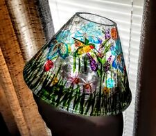 Yankee Candle Colorful Crackle glass WILDFLOWER Large Jar Topper Shade. NEW