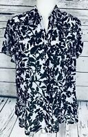 Cato Women's Large Blouse Short Sleeves Button Down Sequins Pleat Sheer V Neck