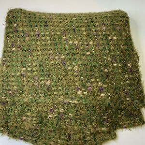 pier one throw blanket chunky knit woven green purple acrylic blend 50x60,