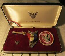 VINTAGE BSA Award Boy Scout STERLING Stange 3 Eagle Medal, Palm, Case Patch RARE