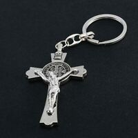 New Silver Cross Crucifix Religious Jesus Christ Keyring Keychain Free Gift Bag