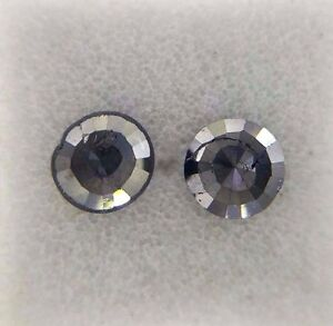 0.72TCW Round Rose cut Jet Black AA Color Loose Natural Diamond pair for earring