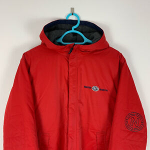 Vintage Nautica Jeans Long Spellout Hooded Puffer Jacket, Red