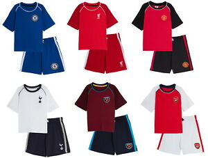 Kids Premier League Football Team Short Pyjamas Shortie Premiership Team Pjs