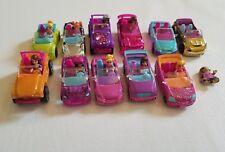 Polly Pocket Car Lot 11 Convertible 9 Figure Monkey Jeep Sparkle Mini Mattel Toy