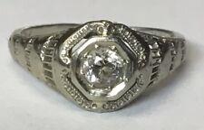 Vintage Antique 18kt White Gold Diamond Ring Size 7.5