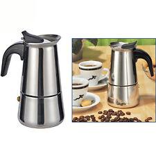 6X Tassen Edelstahl Espressokocher Espresso Maker Espressokanne Kaffee, **NEU