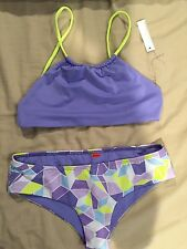 Zinke Bathing suit Set Mint Green Purple Top Neon Bottom Halter Swimwear Bikini