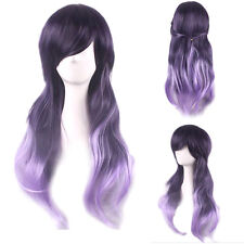 Purple Ombre Long Curly Natural Synthetic Wigs Halloween Anime Cosplay Wig Hair
