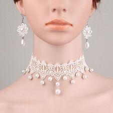 Womens Bridal SET Beads Drop Flower Lace Choker White Wedding Necklace Earrings