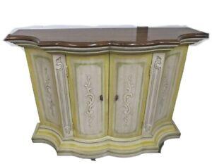 Vintage Drexel Hall Bedroom End Table French Provincial 2 Shelves Cabinet Carved