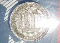 ---@ Rare 1866 3 cent nickel Coin  ANACS F12 @--- RARE!!!! FREE S/H in U.S.A