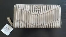 Coach Madison Gathered Leather Accordion Zip Wallet 46481 Metallic Taupe Silver