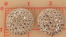 "2 large shiny silver metal rhinestone shank buttons 3 crystal Czech 1.25"" 534"