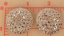 "2 large shiny silver metal rhinestone shank buttons 3 crystal Czech 1.25"" 534"