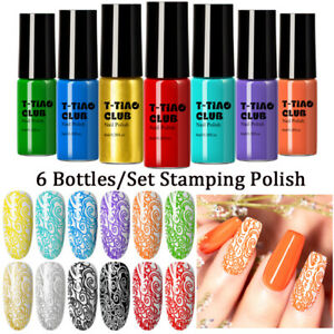 T-TIAO CLUB 6Bottle/set Nail Art Stamping Polish Manicure Plate Printing Varnish