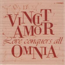 LOVE CONQUERS ALL - Wood Mounted Rubber Stamp - Hampton Art