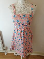 TopShop Blue & Pink FLORAL PRINT Vintage Retro style Tea  DRESS SIZE 12 Medium
