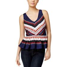 Guess 0143 Womens Blue Ruffled Striped V-Neck Peplum Top Top S BHFO