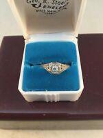 18k White Gold Filligree Diamond Engagement Ring, Art Deco, Size 5.25