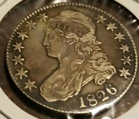 1826 Philadelphia Mint Silver Capped Bust Half Dollar VF Cond. .8924 Silver