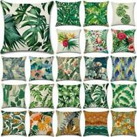 Green Tropical Flower Plant Pillow Case Cotton Linen Sofa Cushion Cover Decor