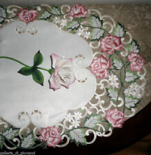 "Dresser Scarf 34"" Garden Rose Lace Doily Runner Flower Pink and Green"