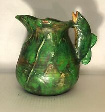 Weller Pottery Coppertone Fish Handled Pitcher