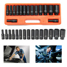 15PCS 1/2'' IMPACT SOCKET SET METRIC IMPERIAL DRIVE AIR GARAGE DEEP 10-32MM
