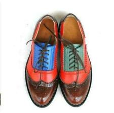Womens Carved Shoes Stitching Oxfords real Leather Lace Up Brogues British Pumps