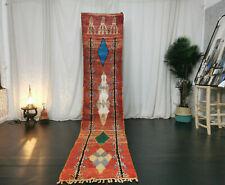 """Moroccan Boujad Handmade Vintage Runner 2'2""""x11' Geometric Red Berber Wool Rug"""