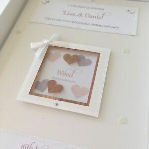 Personalised 5th Wood Wedding Anniversary Card, Swarovski crystals, boxed